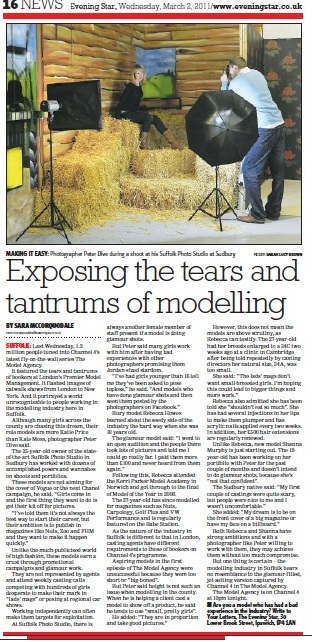 Newspaper Article about Suffolk Photo Studio Modelling Article
